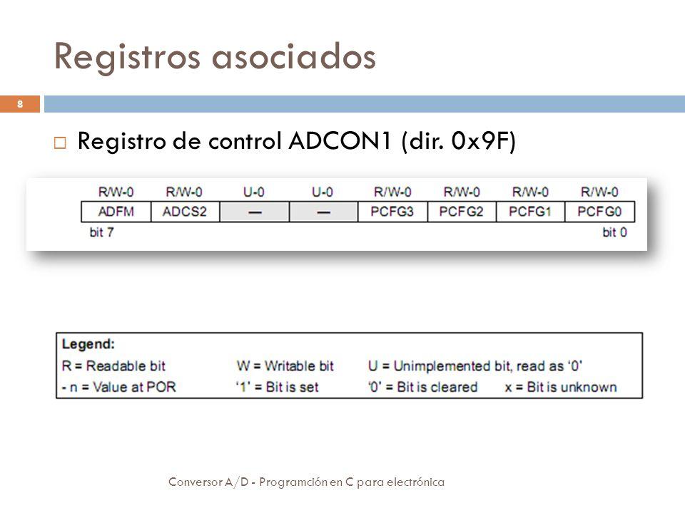 Registros asociados Registro de control ADCON1 (dir. 0x9F)