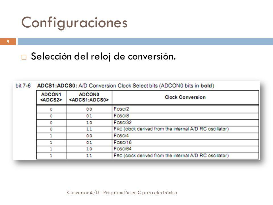 Configuraciones Selección del reloj de conversión.