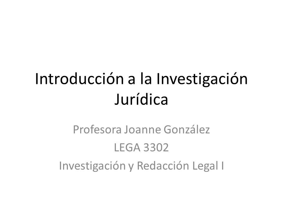 Introducción a la Investigación Jurídica