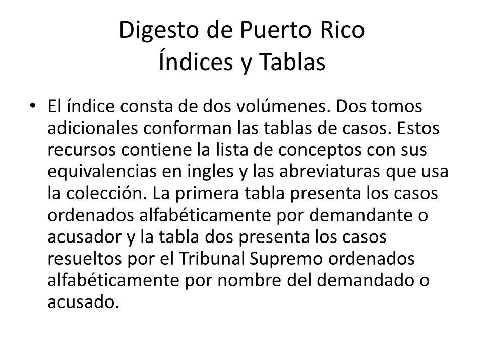 Digesto de Puerto Rico Índices y Tablas