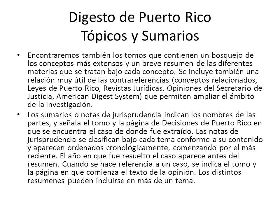 Digesto de Puerto Rico Tópicos y Sumarios