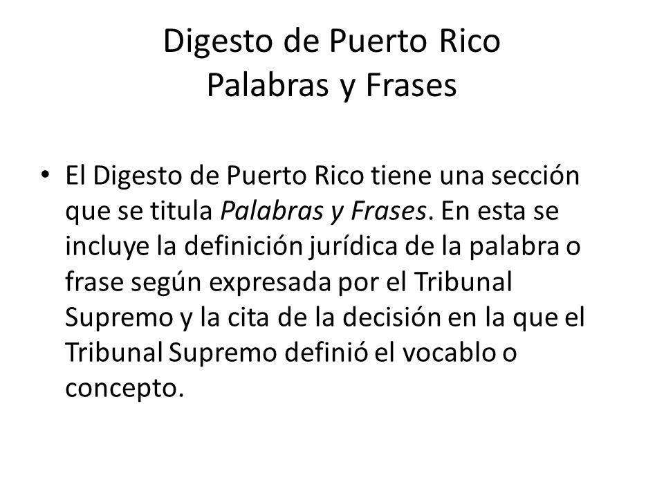 Digesto de Puerto Rico Palabras y Frases
