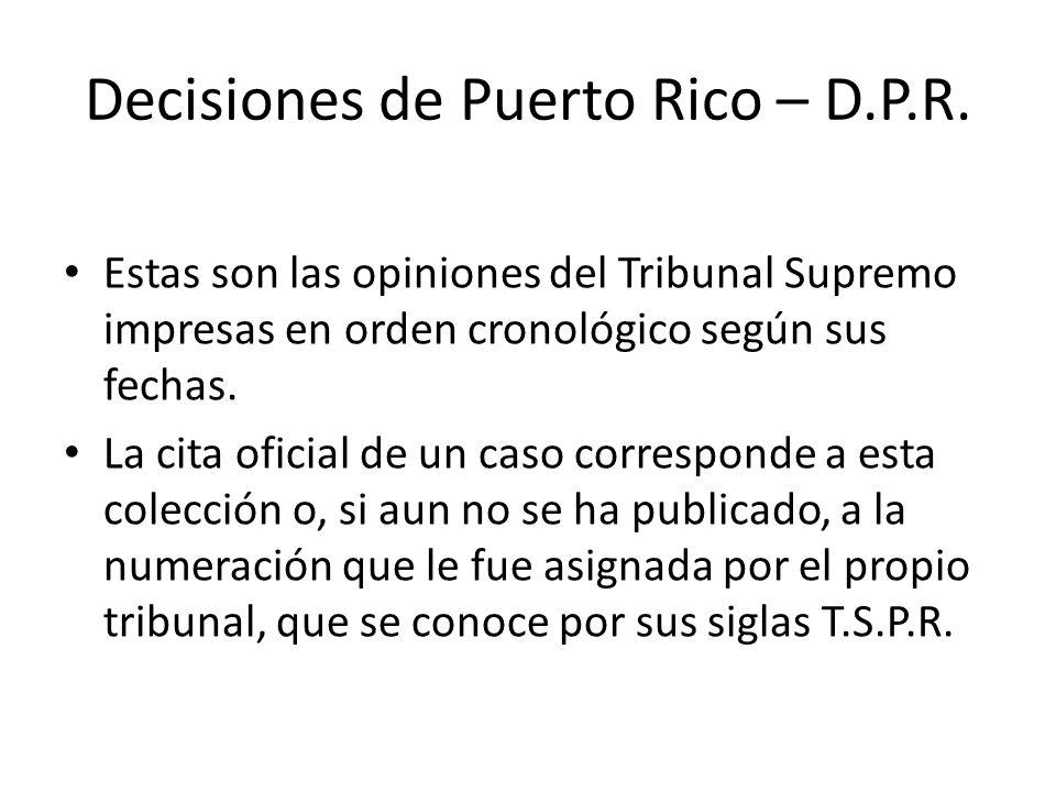 Decisiones de Puerto Rico – D.P.R.