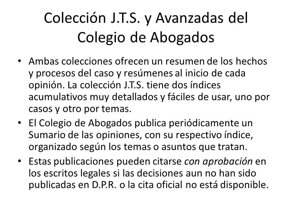 Colección J.T.S. y Avanzadas del Colegio de Abogados