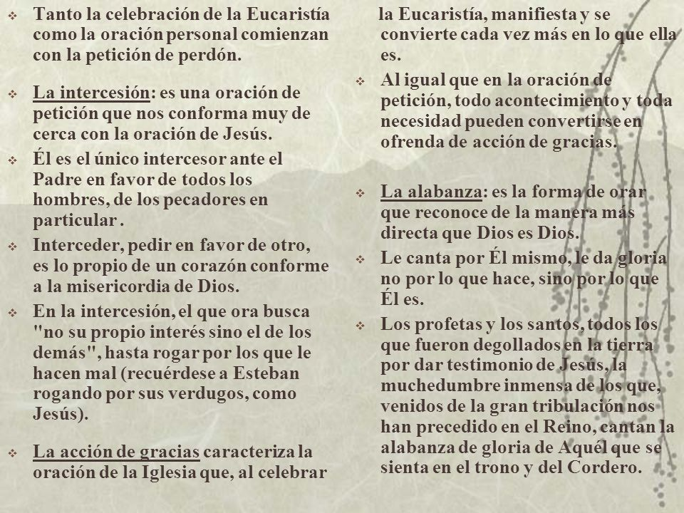 Tanto la celebración de la Eucaristía como la oración personal comienzan con la petición de perdón.