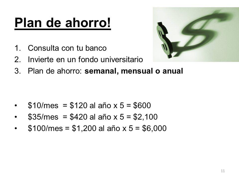Plan de ahorro! Consulta con tu banco