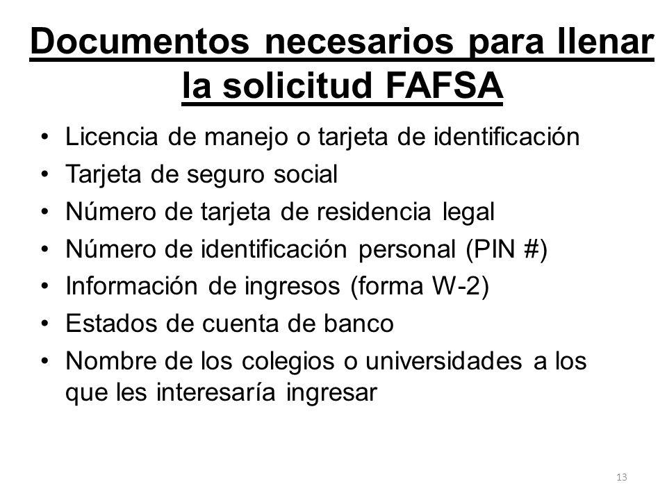 Documentos necesarios para llenar la solicitud FAFSA