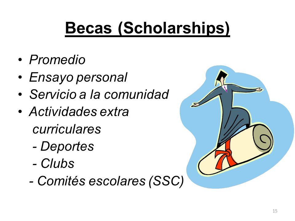 Becas (Scholarships) Promedio Ensayo personal Servicio a la comunidad