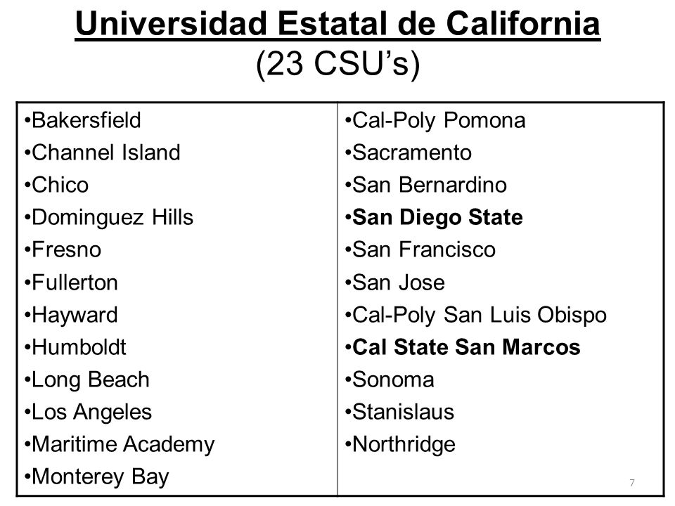 Universidad Estatal de California (23 CSU's)