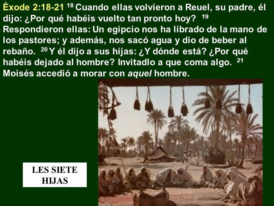Èxode 2:18-21 18 Cuando ellas volvieron a Reuel, su padre, él dijo: ¿Por qué habéis vuelto tan pronto hoy 19 Respondieron ellas: Un egipcio nos ha librado de la mano de los pastores; y además, nos sacó agua y dio de beber al rebaño. 20 Y él dijo a sus hijas: ¿Y dónde está ¿Por qué habéis dejado al hombre Invitadlo a que coma algo. 21 Moisés accedió a morar con aquel hombre.