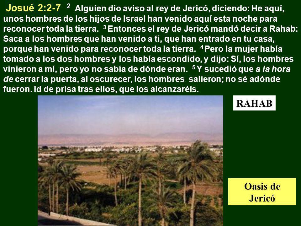 Josué 2:2-7 2 Alguien dio aviso al rey de Jericó, diciendo: He aquí, unos hombres de los hijos de Israel han venido aquí esta noche para reconocer toda la tierra. 3 Entonces el rey de Jericó mandó decir a Rahab: Saca a los hombres que han venido a ti, que han entrado en tu casa, porque han venido para reconocer toda la tierra. 4 Pero la mujer había tomado a los dos hombres y los había escondido, y dijo: Sí, los hombres vinieron a mí, pero yo no sabía de dónde eran. 5 Y sucedió que a la hora de cerrar la puerta, al oscurecer, los hombres salieron; no sé adónde fueron. Id de prisa tras ellos, que los alcanzaréis.