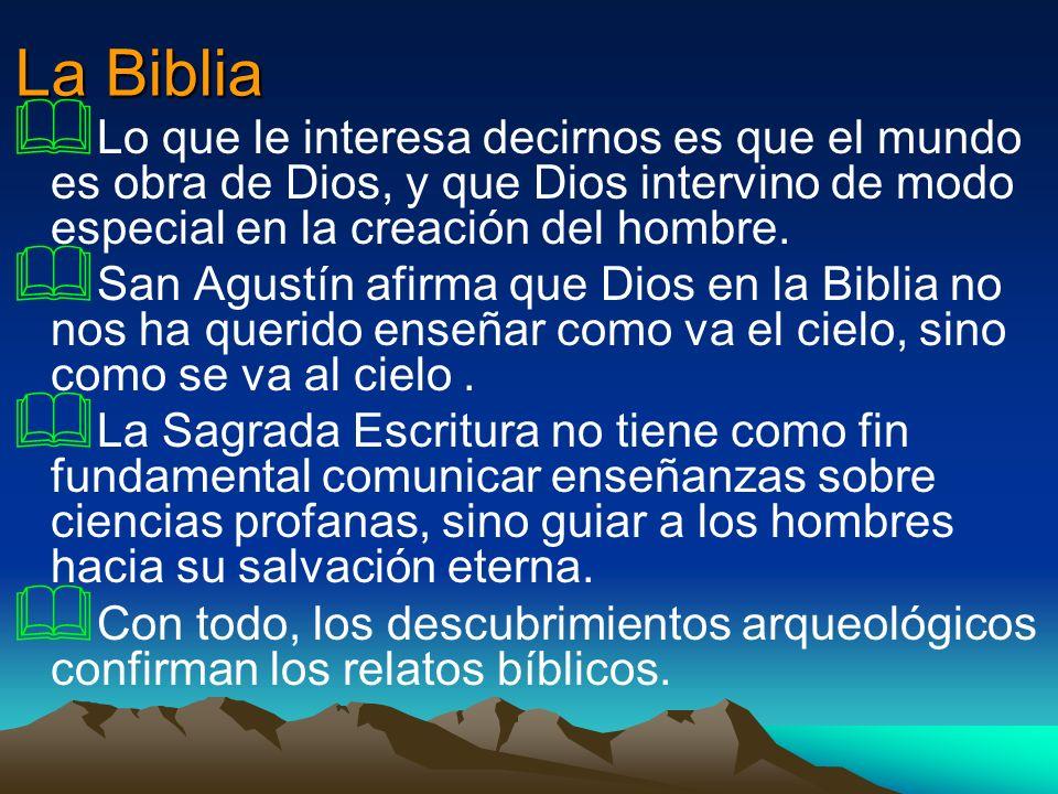 La BibliaLo que le interesa decirnos es que el mundo es obra de Dios, y que Dios intervino de modo especial en la creación del hombre.