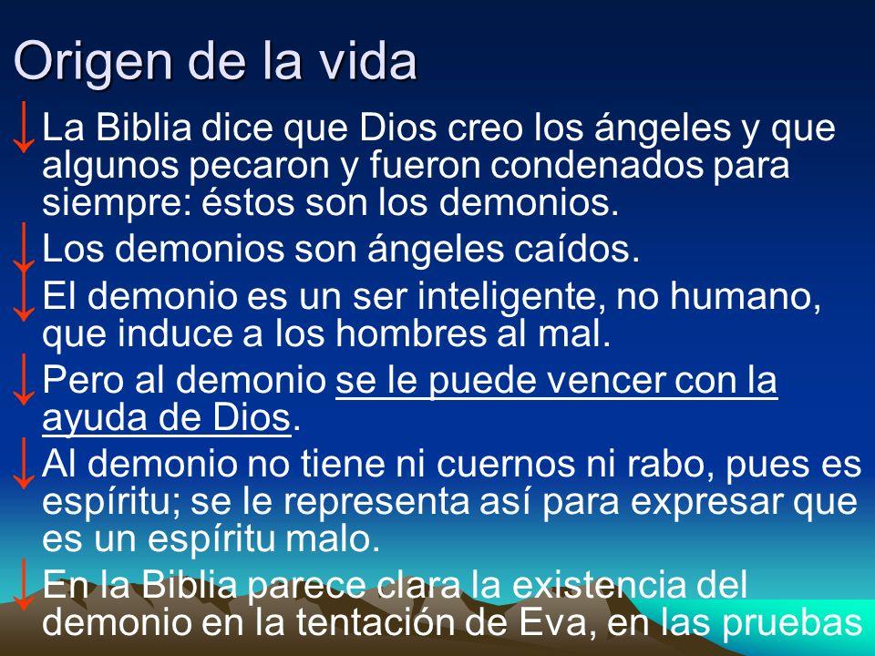 Origen de la vidaLa Biblia dice que Dios creo los ángeles y que algunos pecaron y fueron condenados para siempre: éstos son los demonios.