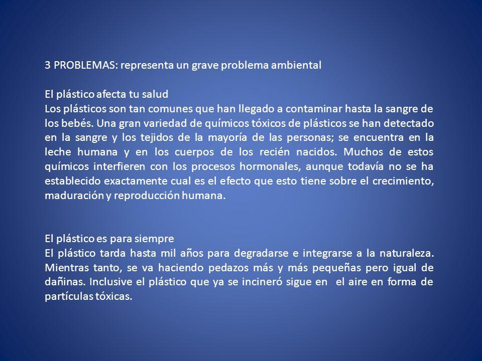 3 PROBLEMAS: representa un grave problema ambiental
