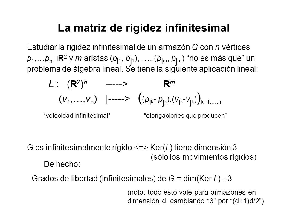 La matriz de rigidez infinitesimal
