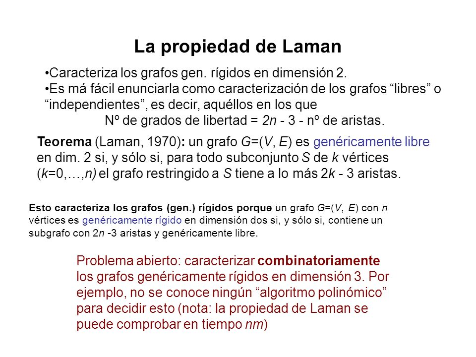Nº de grados de libertad = 2n - 3 - nº de aristas.