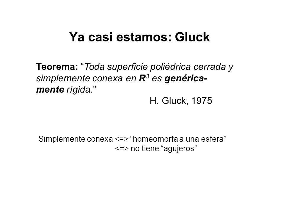 Ya casi estamos: Gluck Teorema: Toda superficie poliédrica cerrada y simplemente conexa en R3 es genérica-mente rígida.