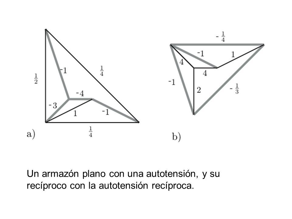 Un armazón plano con una autotensión, y su recíproco con la autotensión recíproca.
