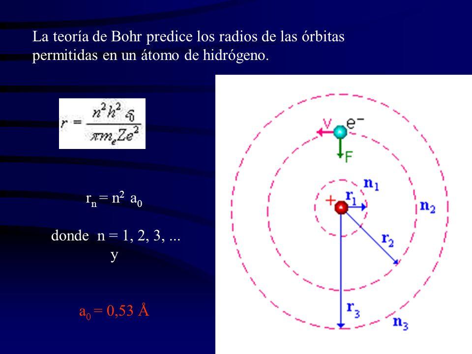 La teoría de Bohr predice los radios de las órbitas permitidas en un átomo de hidrógeno.