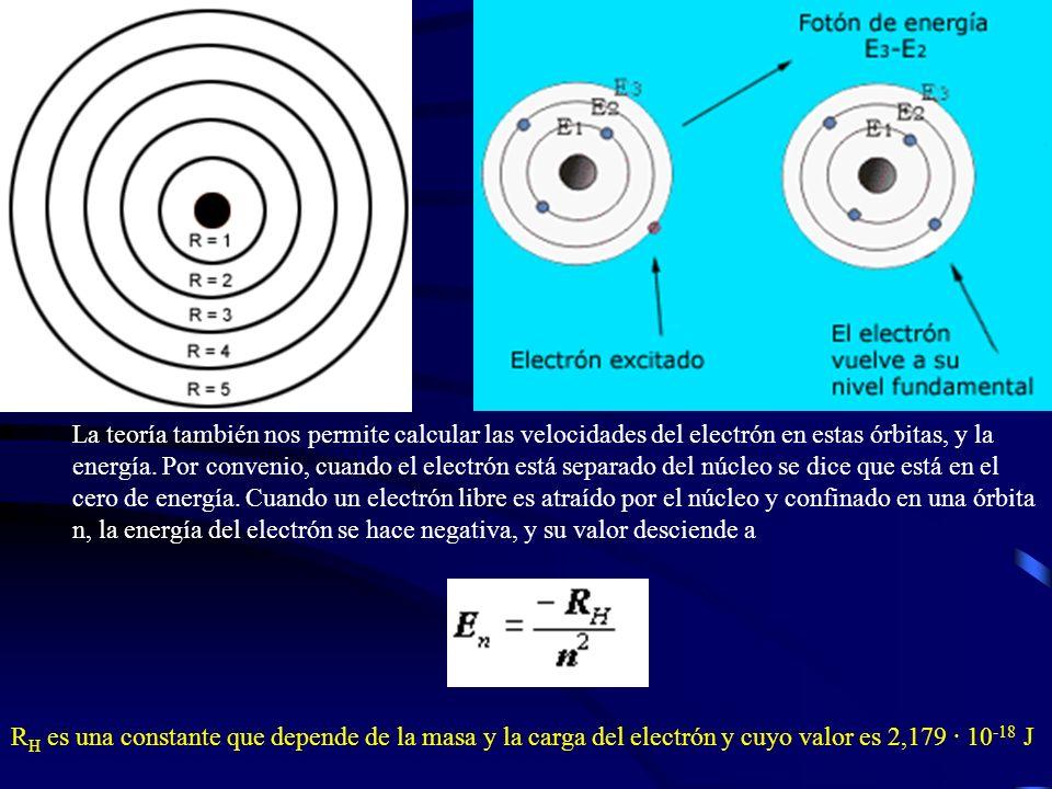 La teoría también nos permite calcular las velocidades del electrón en estas órbitas, y la energía. Por convenio, cuando el electrón está separado del núcleo se dice que está en el cero de energía. Cuando un electrón libre es atraído por el núcleo y confinado en una órbita n, la energía del electrón se hace negativa, y su valor desciende a