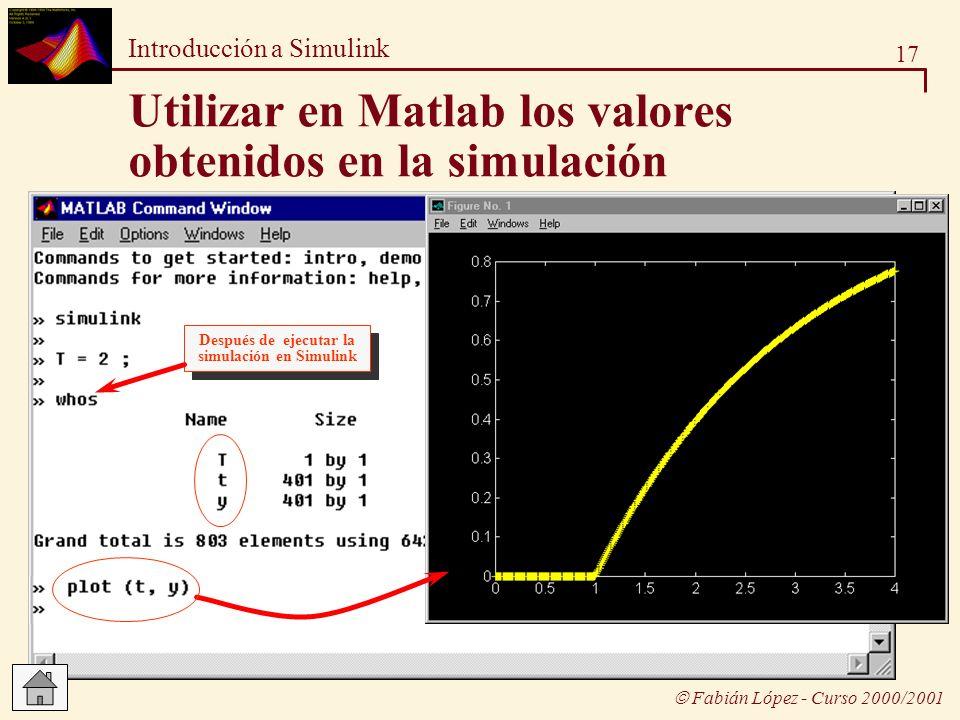 Utilizar en Matlab los valores obtenidos en la simulación