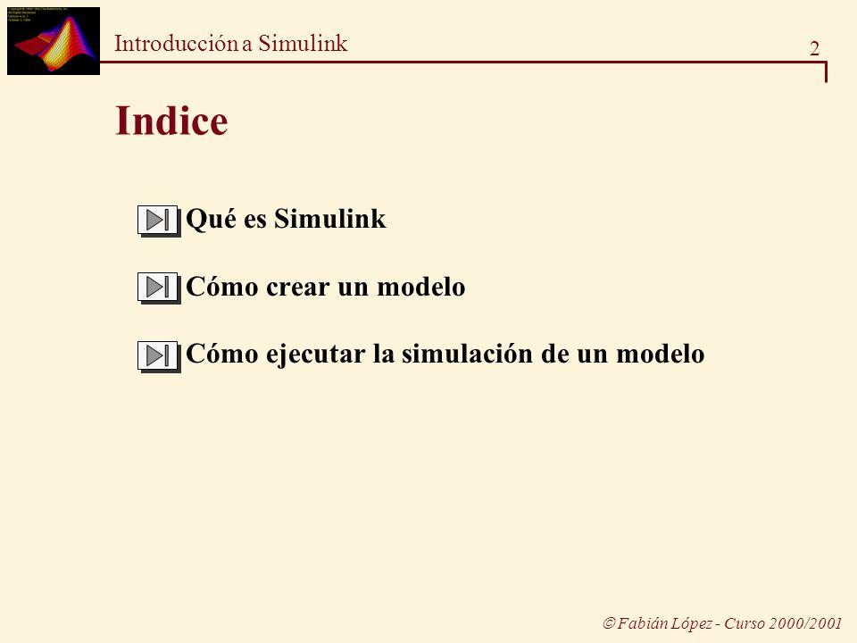 Indice  Qué es Simulink Cómo crear un modelo