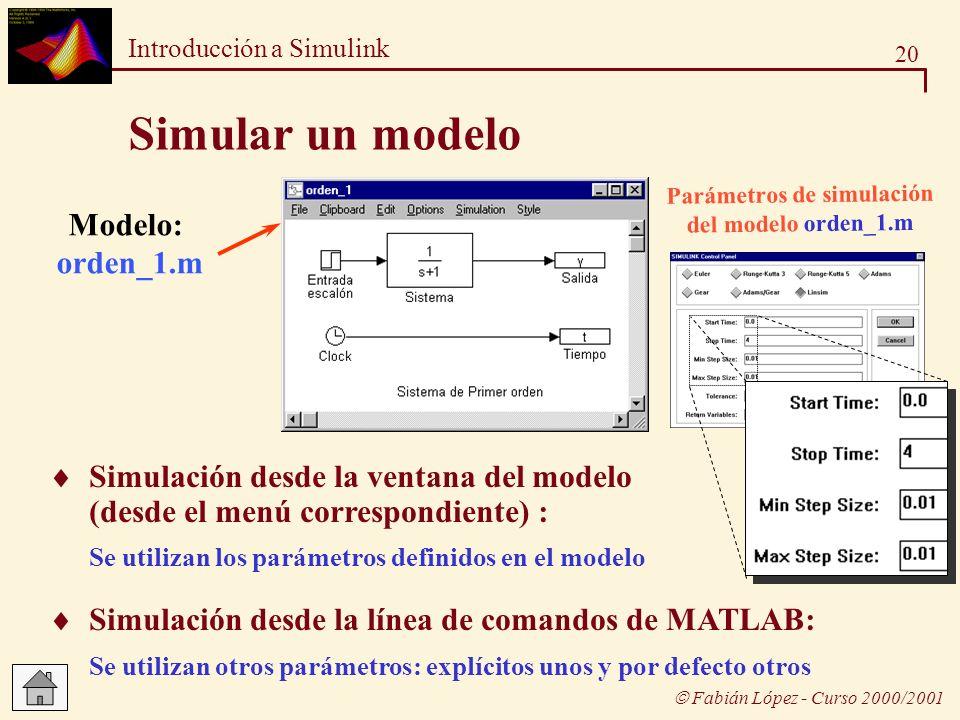Parámetros de simulación del modelo orden_1.m
