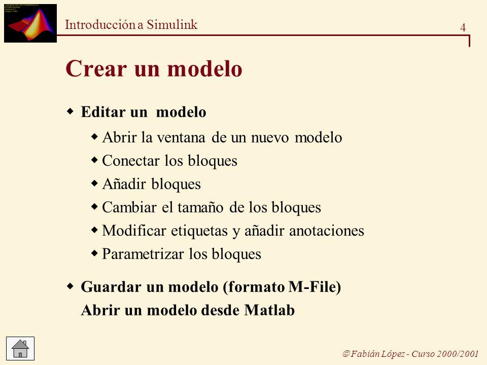 Crear un modelo Editar un modelo Abrir la ventana de un nuevo modelo