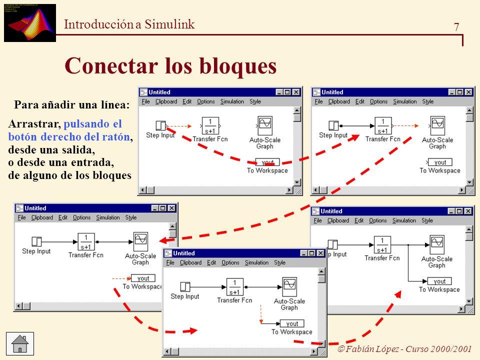 Conectar los bloques Para añadir una línea: