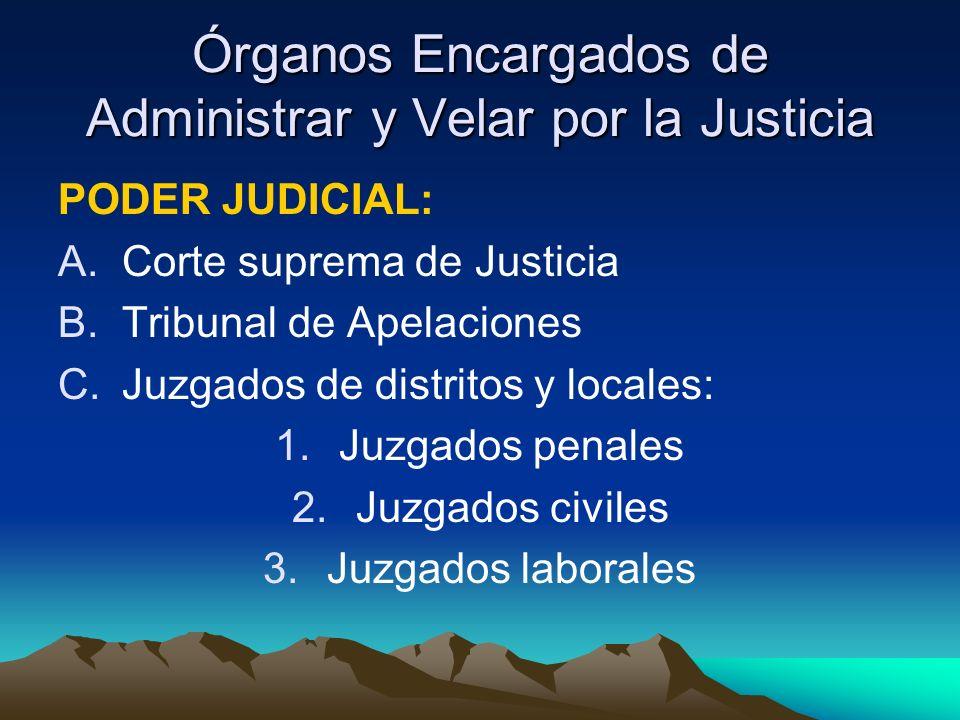 Órganos Encargados de Administrar y Velar por la Justicia