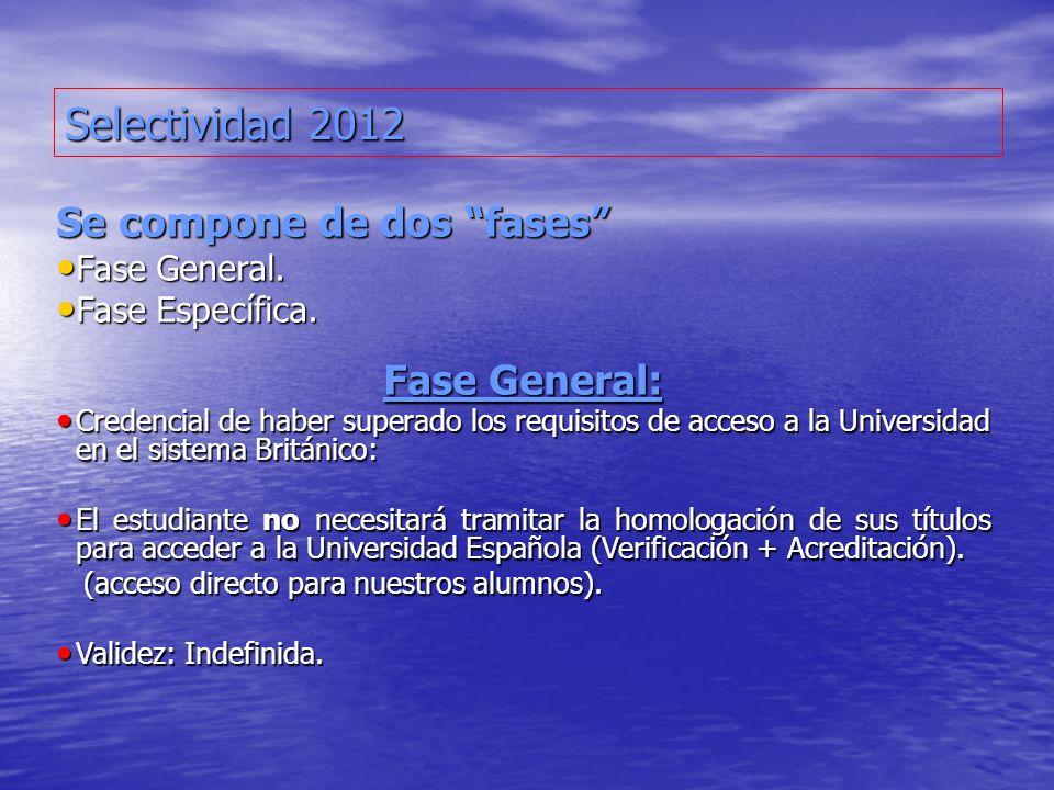 Selectividad 2012 Se compone de dos fases Fase General: