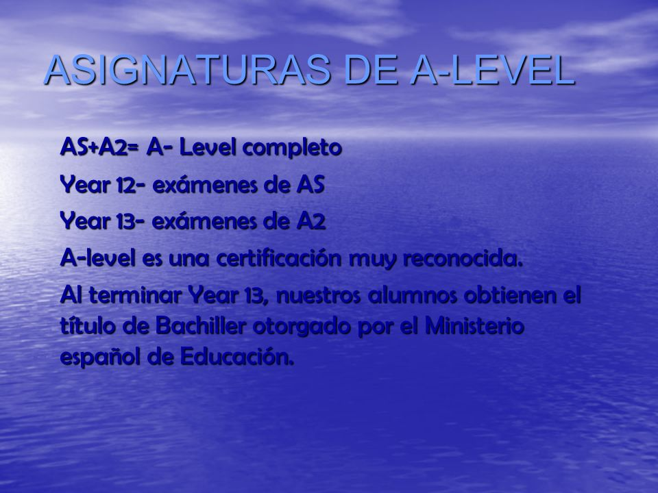 ASIGNATURAS DE A-LEVEL