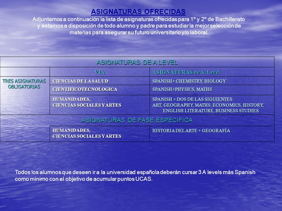 ASIGNATURAS OFRECIDAS