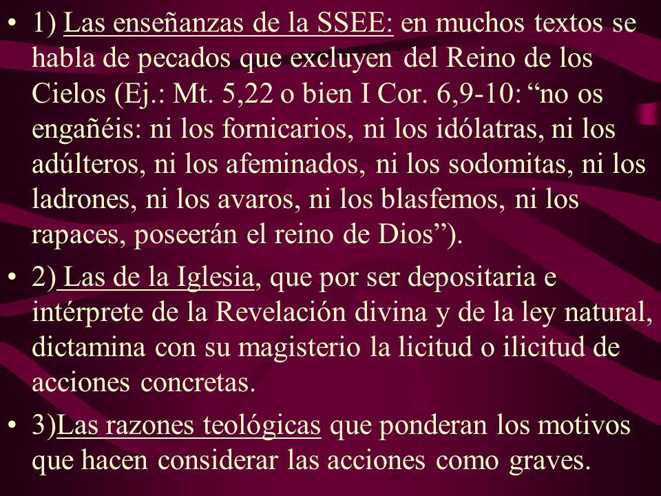1) Las enseñanzas de la SSEE: en muchos textos se habla de pecados que excluyen del Reino de los Cielos (Ej.: Mt. 5,22 o bien I Cor. 6,9-10: no os engañéis: ni los fornicarios, ni los idólatras, ni los adúlteros, ni los afeminados, ni los sodomitas, ni los ladrones, ni los avaros, ni los blasfemos, ni los rapaces, poseerán el reino de Dios ).