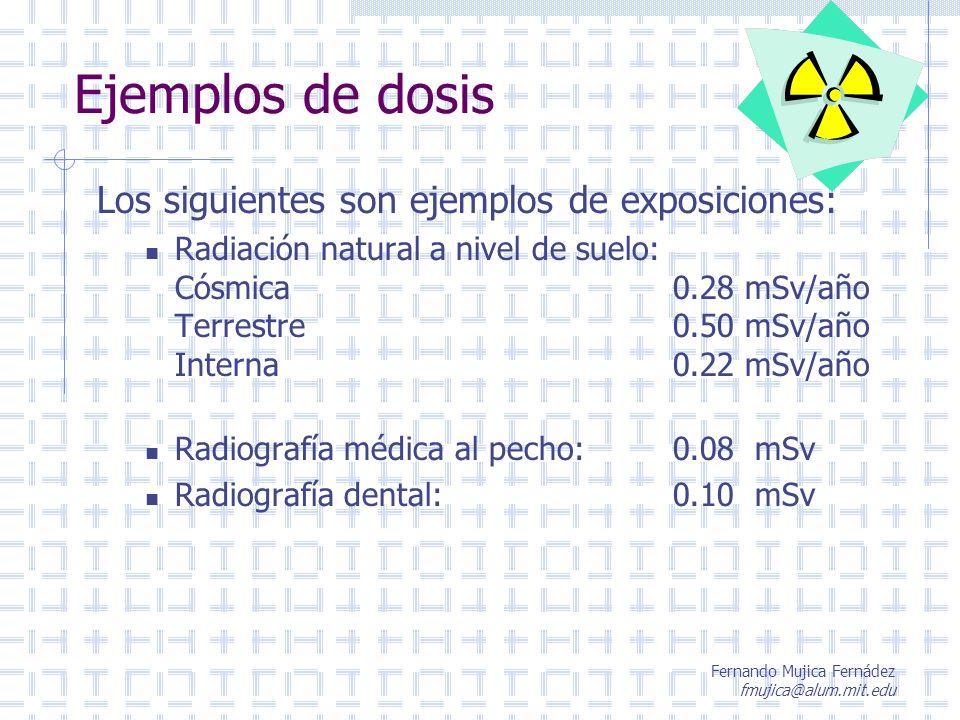 Ejemplos de dosis Los siguientes son ejemplos de exposiciones: