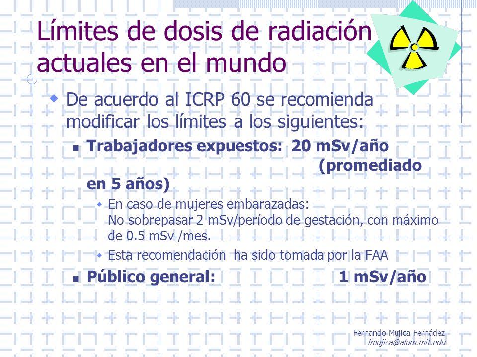 Límites de dosis de radiación actuales en el mundo