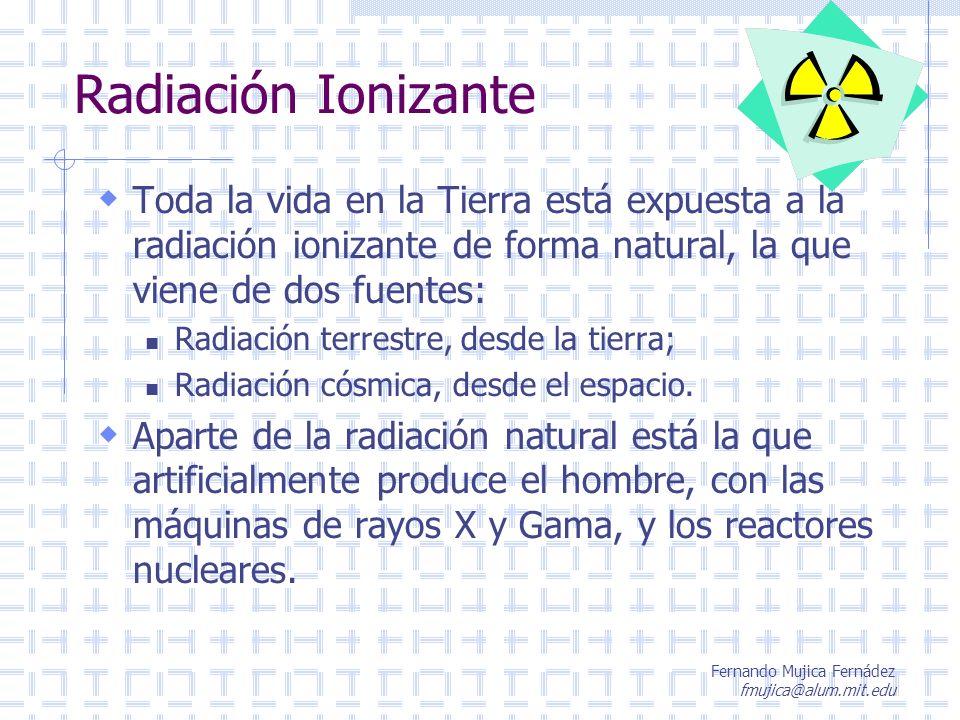 Radiación Ionizante Toda la vida en la Tierra está expuesta a la radiación ionizante de forma natural, la que viene de dos fuentes: