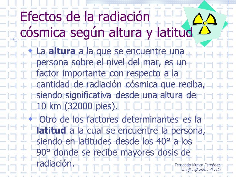 Efectos de la radiación cósmica según altura y latitud