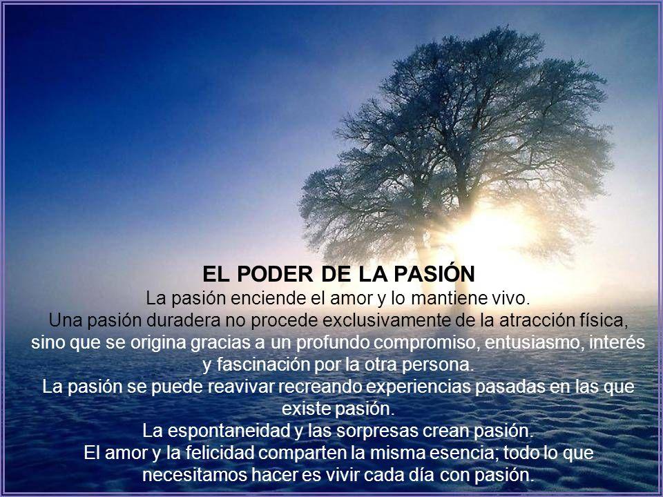 EL PODER DE LA PASIÓN La pasión enciende el amor y lo mantiene vivo