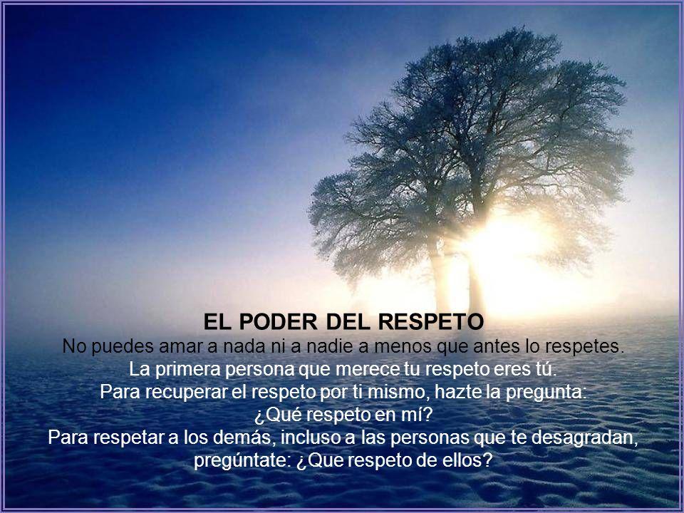 EL PODER DEL RESPETO No puedes amar a nada ni a nadie a menos que antes lo respetes.