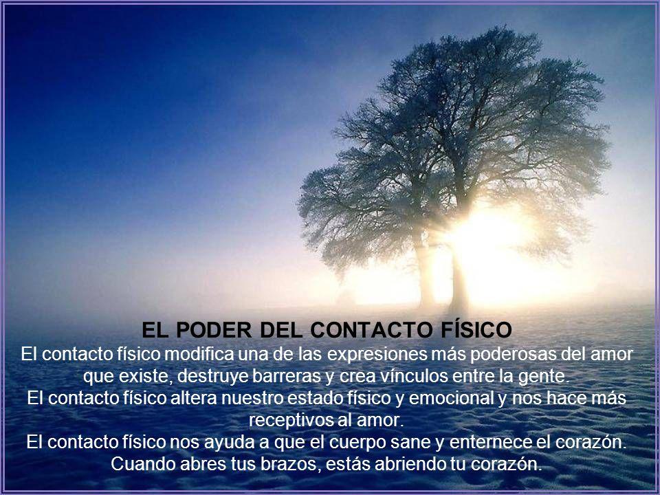 EL PODER DEL CONTACTO FÍSICO El contacto físico modifica una de las expresiones más poderosas del amor que existe, destruye barreras y crea vínculos entre la gente.