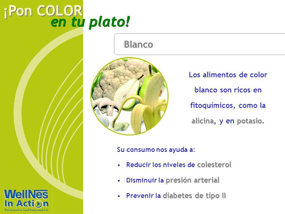 Blanco Los alimentos de color blanco son ricos en fitoquímicos, como la alicina, y en potasio. Su consumo nos ayuda a: