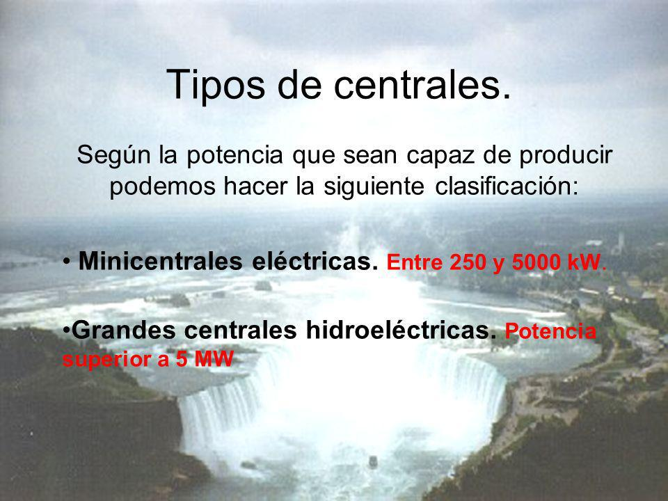 Tipos de centrales. Según la potencia que sean capaz de producir podemos hacer la siguiente clasificación: