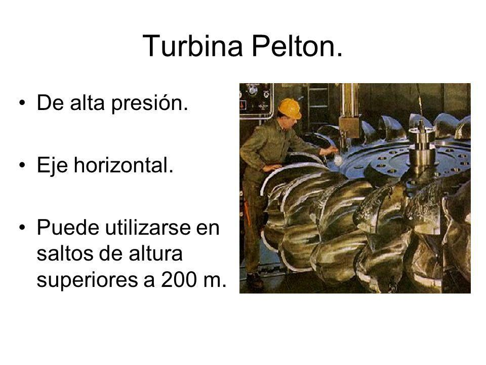 Turbina Pelton. De alta presión. Eje horizontal.