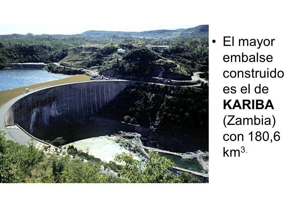El mayor embalse construido es el de KARIBA (Zambia) con 180,6 km3.