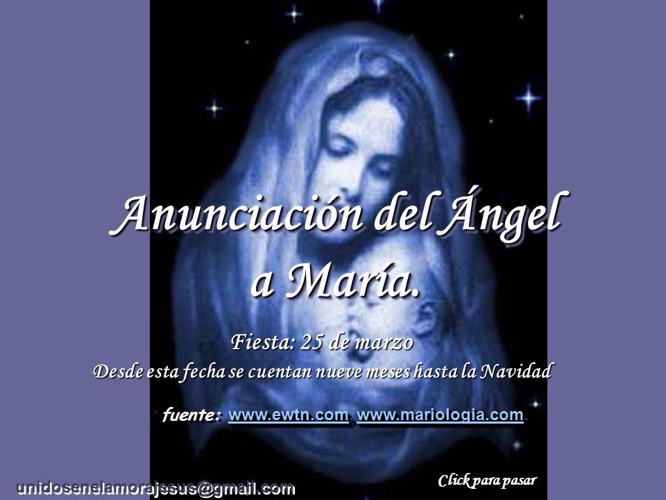 Anunciación del Ángel a María.