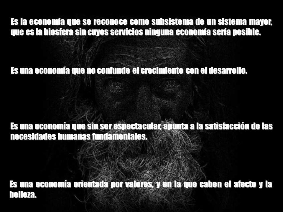 Es la economía que se reconoce como subsistema de un sistema mayor, que es la biosfera sin cuyos servicios ninguna economía sería posible.
