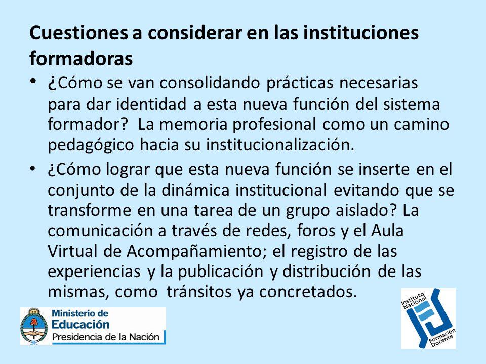 Cuestiones a considerar en las instituciones formadoras