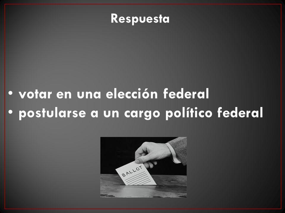 votar en una elección federal postularse a un cargo político federal