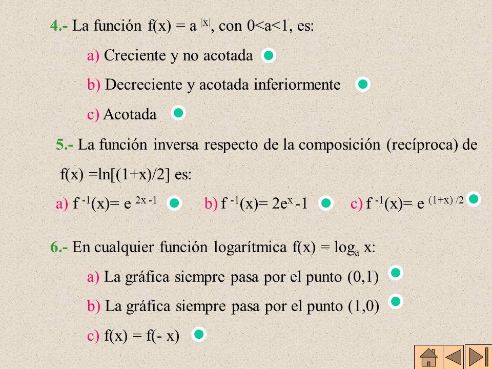 4.- La función f(x) = a |x|, con 0<a<1, es: